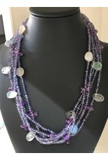 """Mary Chase NECKLACE. Beaded,  Amethyst & Moonstone, 5-strand, 18"""", MARCH"""