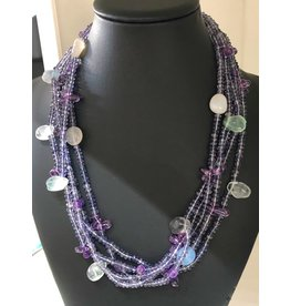 "Mary Chase NECKLACE. Beaded,  Amethyst & Moonstone, 5-strand, 18"", MARCH"