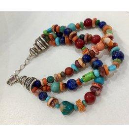 RARE EARTH FINDS BRACELET, Native American Artist Design, triple strand,
