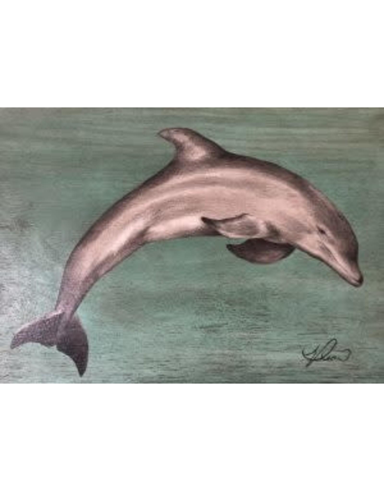 """Molly Pearce Dolphin (Mixed media 8x11"""" MOLP)"""