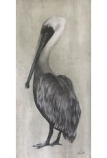 """Molly Pearce PELICAN STANDING (Mixed media 11x17""""MOLP)"""