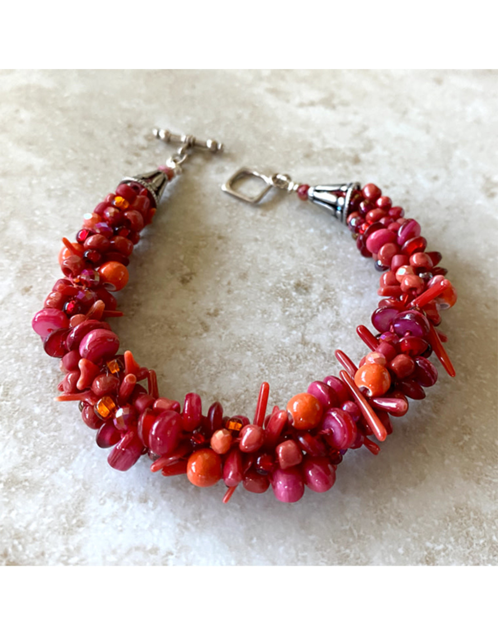 "Susan Estrella RED MIX Kumihimo, bracelet, fits 7.25"" wrist, SUSE"