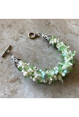 "Susan Estrella GLASS IS GREENER Kumihimo, bracelet, fits 6"" wrist, SUSE"