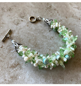 "Susan Estrella GLASS IS GREENER Kumihimo, bracelet, fits 6"" wrist, SUSE"
