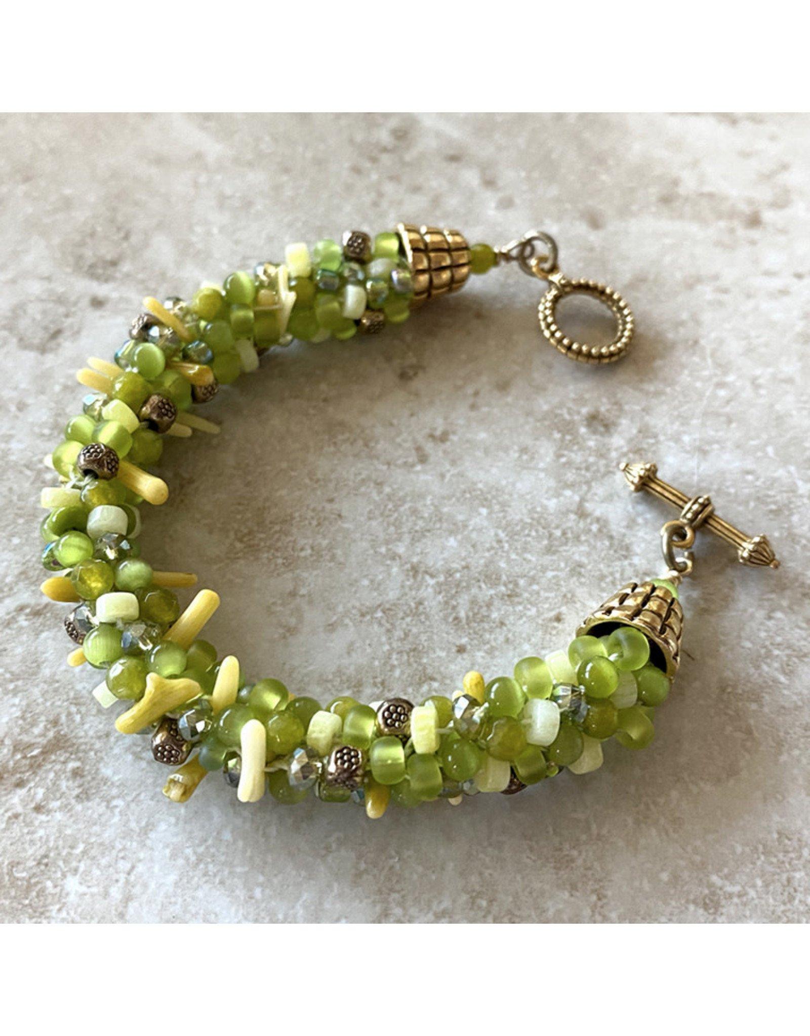 "Susan Estrella AVOCADO SPARKLE Kumihimo bracelet, fits 6.25"" wrist, SUSE"