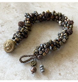 "Susan Estrella METAL MIX Kumihimo bracelet, fits 7"" wrist, SUSE"