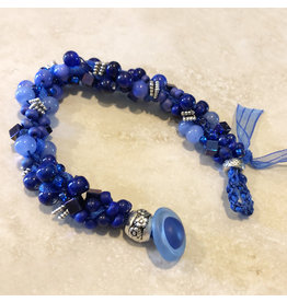 "Susan Estrella BEAUTIFUL BLUES Kumihimo bracelet, fits 6.5"" wrist, SUSE"