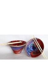 Larrabee Ceramics RICE BOWL w/chopsticks, LARR