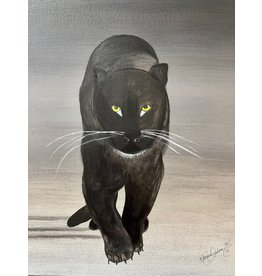 "Marcia Durham PANTHER (Kawanda) acrylic on canvas, 16x20"", MARD"
