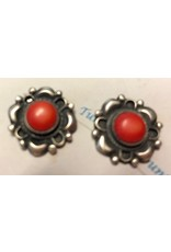 RARE EARTH FINDS CORAL & STERLING EARRINGS, post, Native American Artist Design, RARE