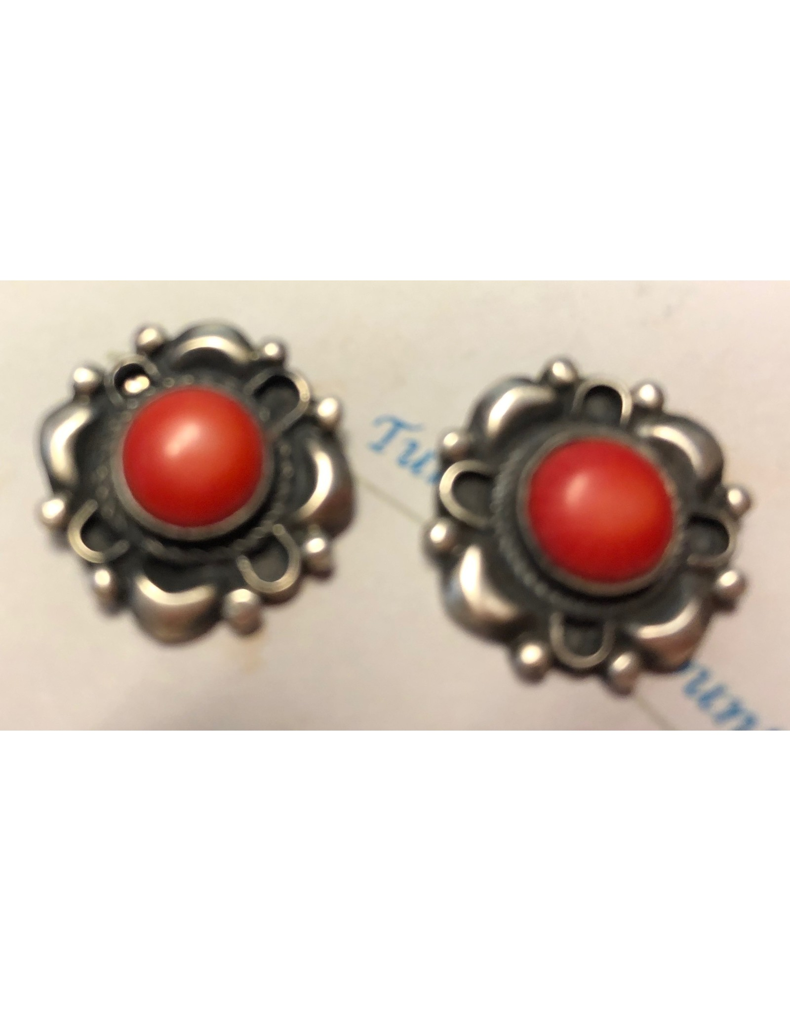 Rare Finds CORAL & STERLING EARRINGS, post, Native American Artist Design, RARE