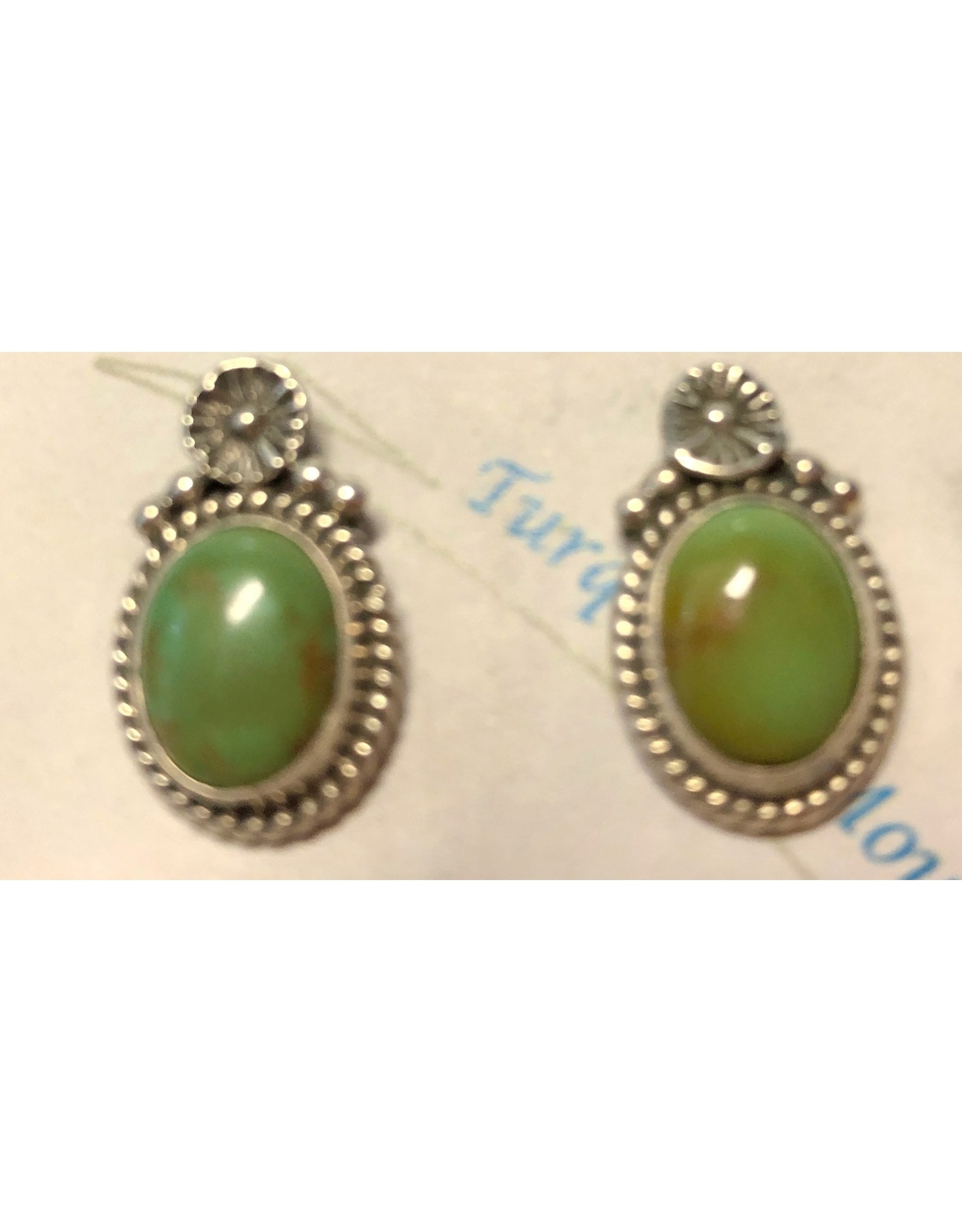 Rare Finds ROYSTON TURQUOISE & STERLING EARRINGS, post, Native American Artist Design, RARE