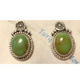 RARE EARTH FINDS ROYSTON TURQUOISE & STERLING EARRINGS, post, Native American Artist Design,