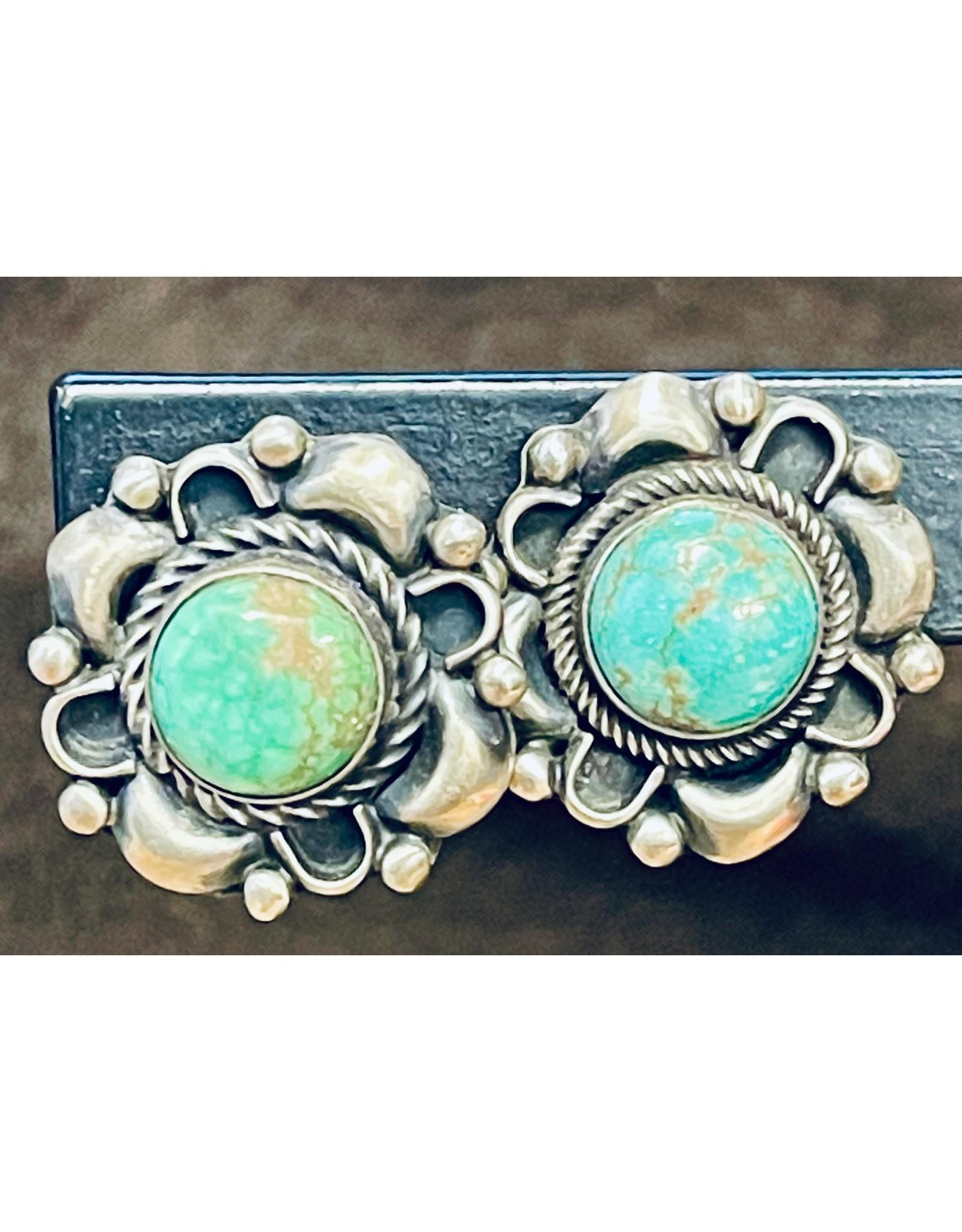 Rare Finds KINGMAN TURQUOISE & STERLING EARRINGS, post, Native American Artist Design, RARE