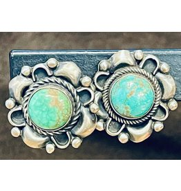 RARE EARTH FINDS KINGMAN TURQUOISE & STERLING EARRINGS, post, Native American Artist Design, RARE