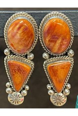 Rare Finds SPINY OYSTER SHELL & STERLING EARRINGS, post, Native American Artist Design, RARE