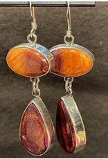 Rare Finds SPINY OYSTER SHELL & STERLING EARRINGS, wire dangle, Native American Artist Design, RARE