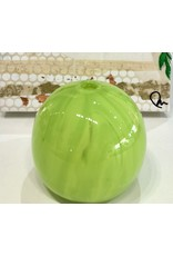 "Rare Finds ART GLASS PAPERWEIGHT VASE, apple green, 2.5"" D, RARE"