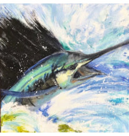 "Michaelann Bellerjeau Sailfish 1 giclee print on paper, 9x9"" MICB)"
