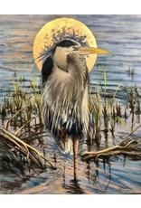 """Michaelann Bellerjeau MAJESTIC HERON (oil on canvas w metal leaf, gallery wrap, 24x36"""") MICB"""