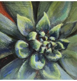 "Michaelann Bellerjeau SUCCULENT,  acrylic on gallery wrap canvas, 4x4"", MICB)"