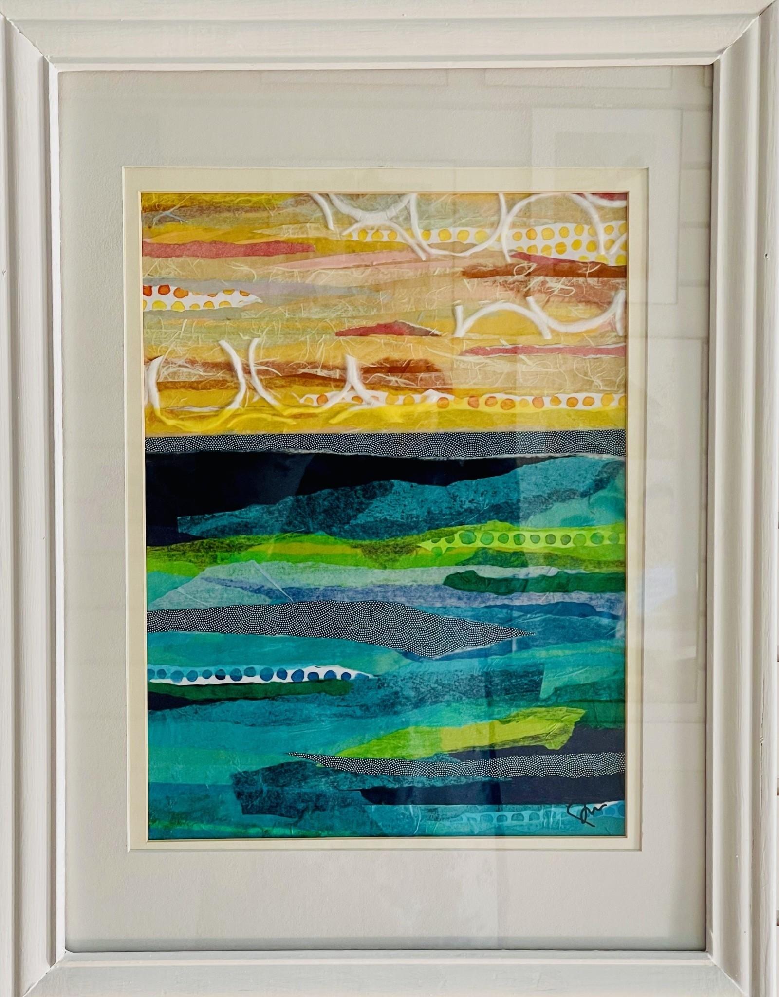 """Pam Maschal SEASCAPE (Mixed Media, framed, 17x23"""" PAMM)"""