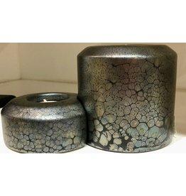 "Rare Finds CANDLE SET, DOUBLE PILLAR, metallic pewter, 2.5"" & 3"", RARE"