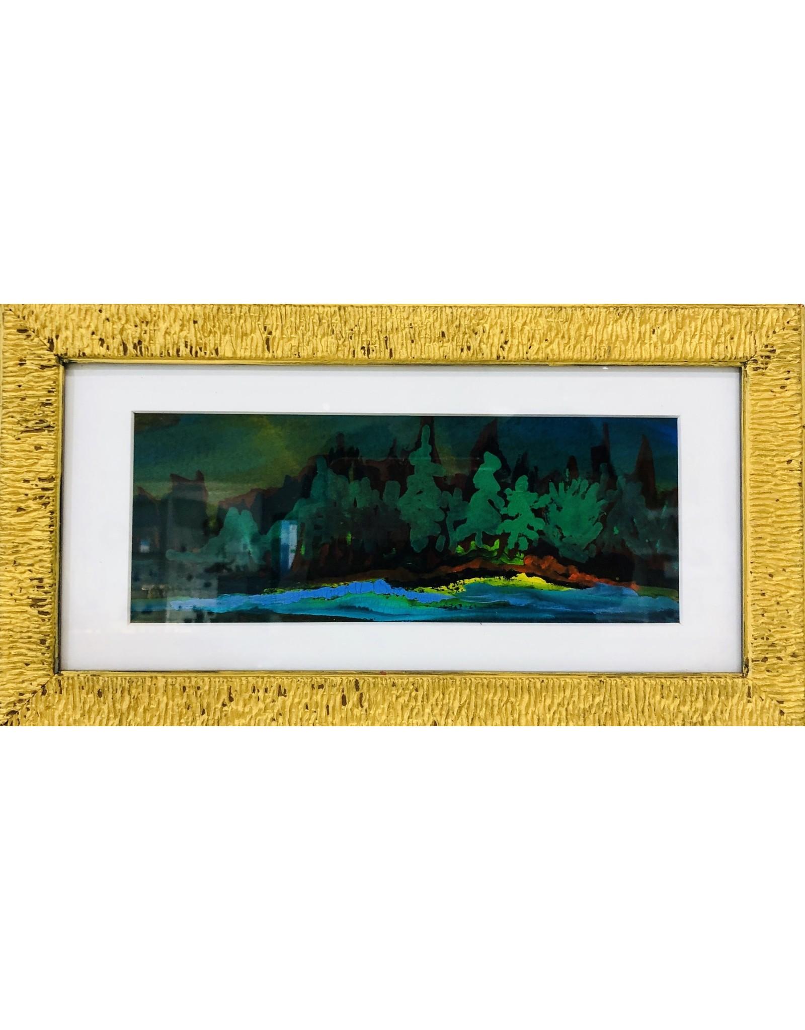 """Rare Finds """"EVERGREEN,"""" watercolor,  14""""x8"""", RARE"""