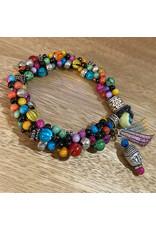 "Susan Estrella Multi K Buddha Kumihimo bracelet, fits 7"" wrist, SUSE"