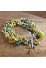 """Susan Estrella WAXED LINEN LIME & TURQUOISE bracelet, fits 7"""" wrist, SUSE"""