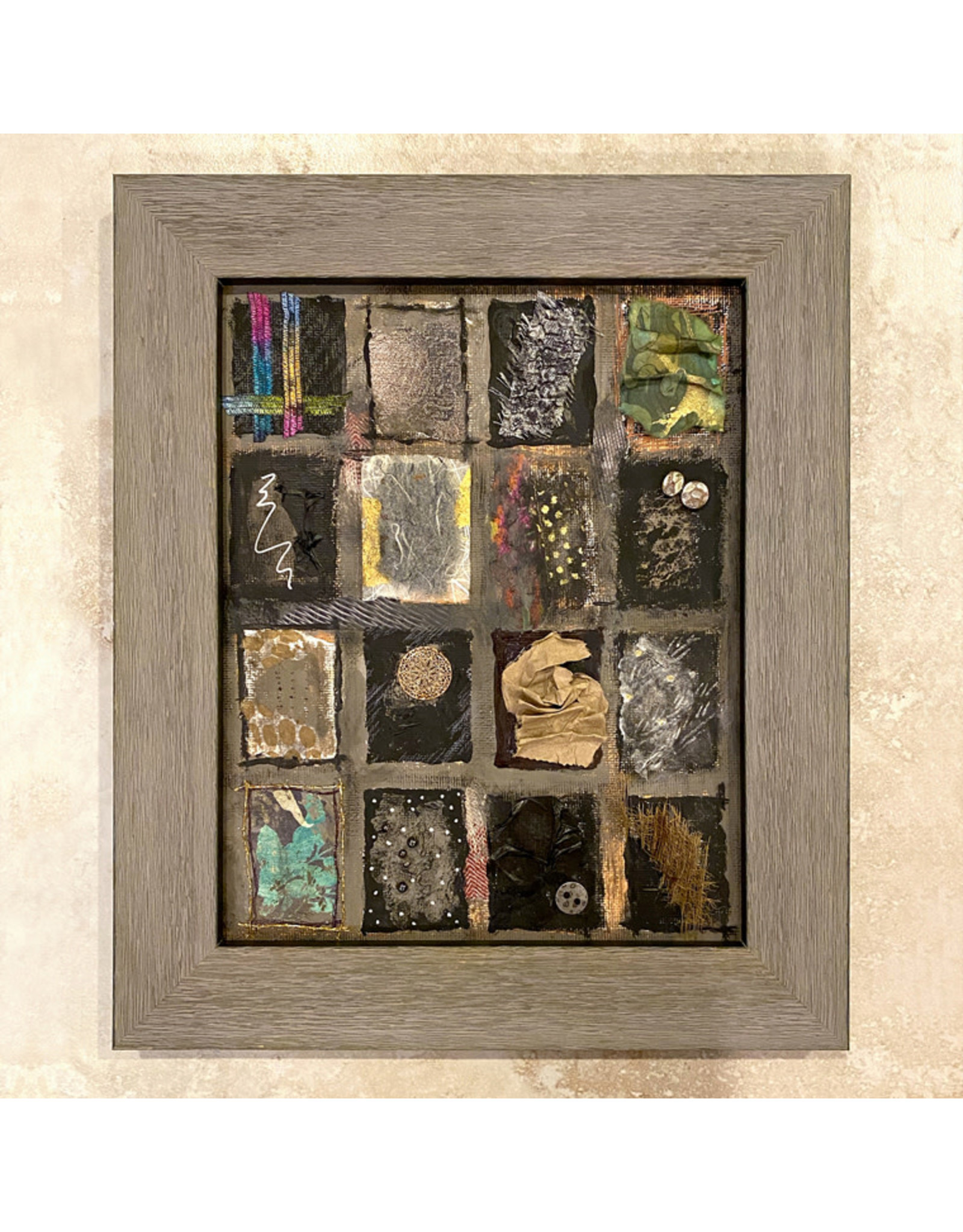 "Susan Estrella TAUPE RECTANGLES Mixed media, 10.5x11.5"" framed, SUSE"