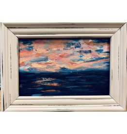 "Teresa Kay SEASCAPE, miniautre, acrylic, framed, 4x6"" TERK"