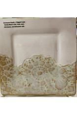 "Clarkware Pottery APPETIZER PLATE, Elegant Lace, 6"" sq, CLARK"