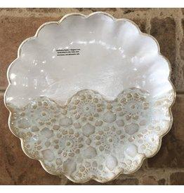 "Clarkware Pottery PLATTER, ROUND SCALLOP, Elegant Lace, 10"", CLARK"