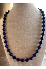 """Rare Finds NECKLACE, Lapis w/Navaho Pearl Spacers, 20"""" Native American Artist Design, single strand RARE"""