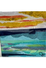"""Pam Maschal SEASCAPE COLLAGE,  (Mixed Media, gallery wrap, 6x6"""" PAMM)"""