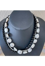 """Rare Finds NECKLACE, Black Onyx & Coin Pearls, 16"""", 3-strand, RARE"""