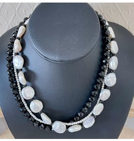 "Rare Finds NECKLACE, Black Onyx & Coin Pearls, 16"", 3-strand, RARE"