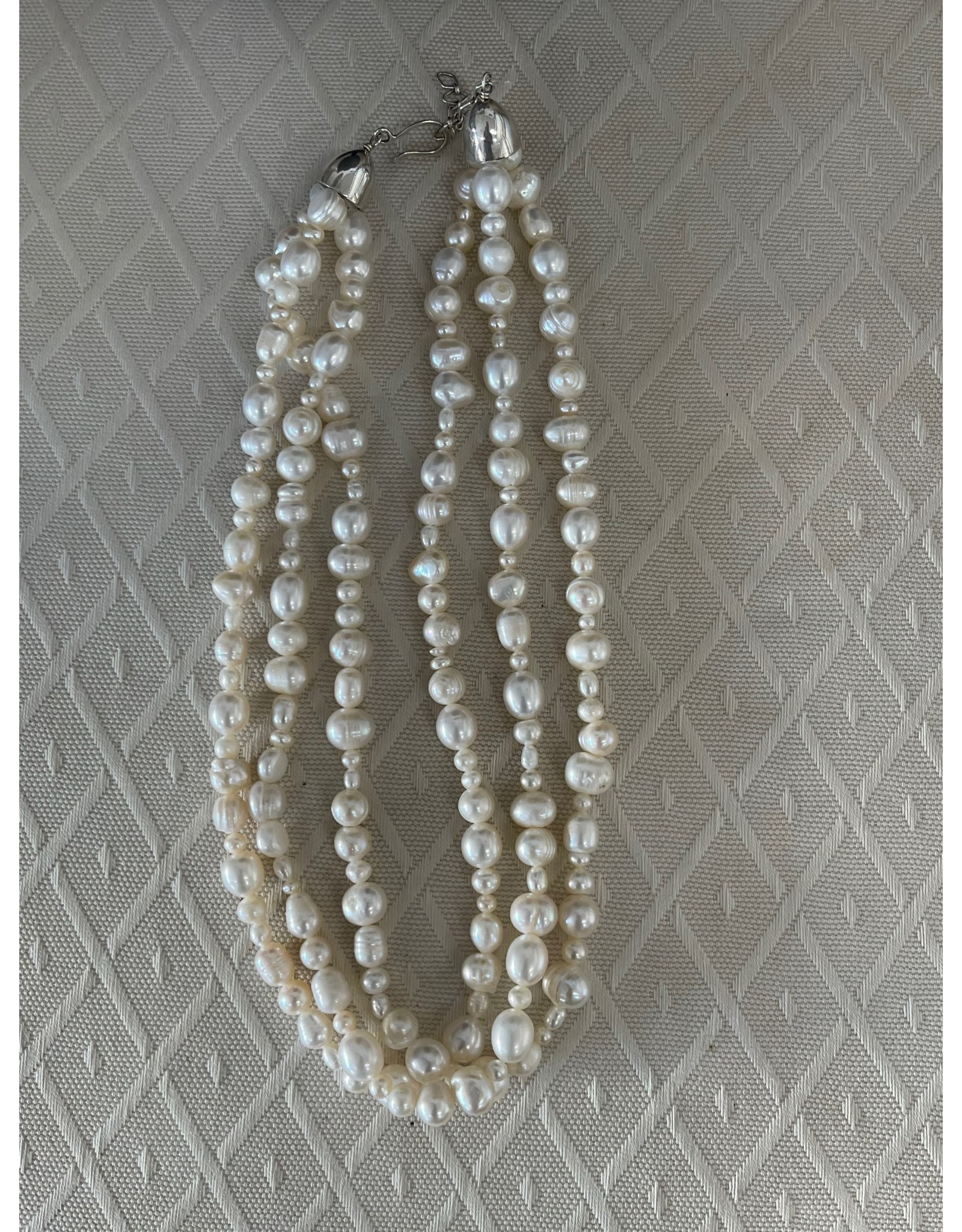 """Rare Finds NECKLACE, White Pearls, sterling, 16"""", 3-strand, RARE"""