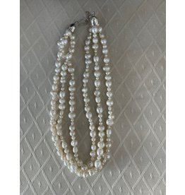 "Rare Finds NECKLACE, White Pearls, sterling, 16"", 3-strand, RARE"