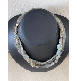 "Rare Finds NECKLACE, Labradorite, 3 strand, sterling, 17"", RARE"