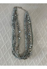 """Rare Finds NECKLACE, blue/green fresh water pearls, Swarovski crystals, sterling, 4 strand , 16"""", RARE"""
