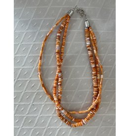 "Rare Finds NECKLACE, Orange Spiny Oyster, sterling, 32"", 3 strand, RARE"