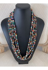 """Rare Finds NECKLACE, 5 strand, w/inlaid findings, sterling, 24"""" RARE"""