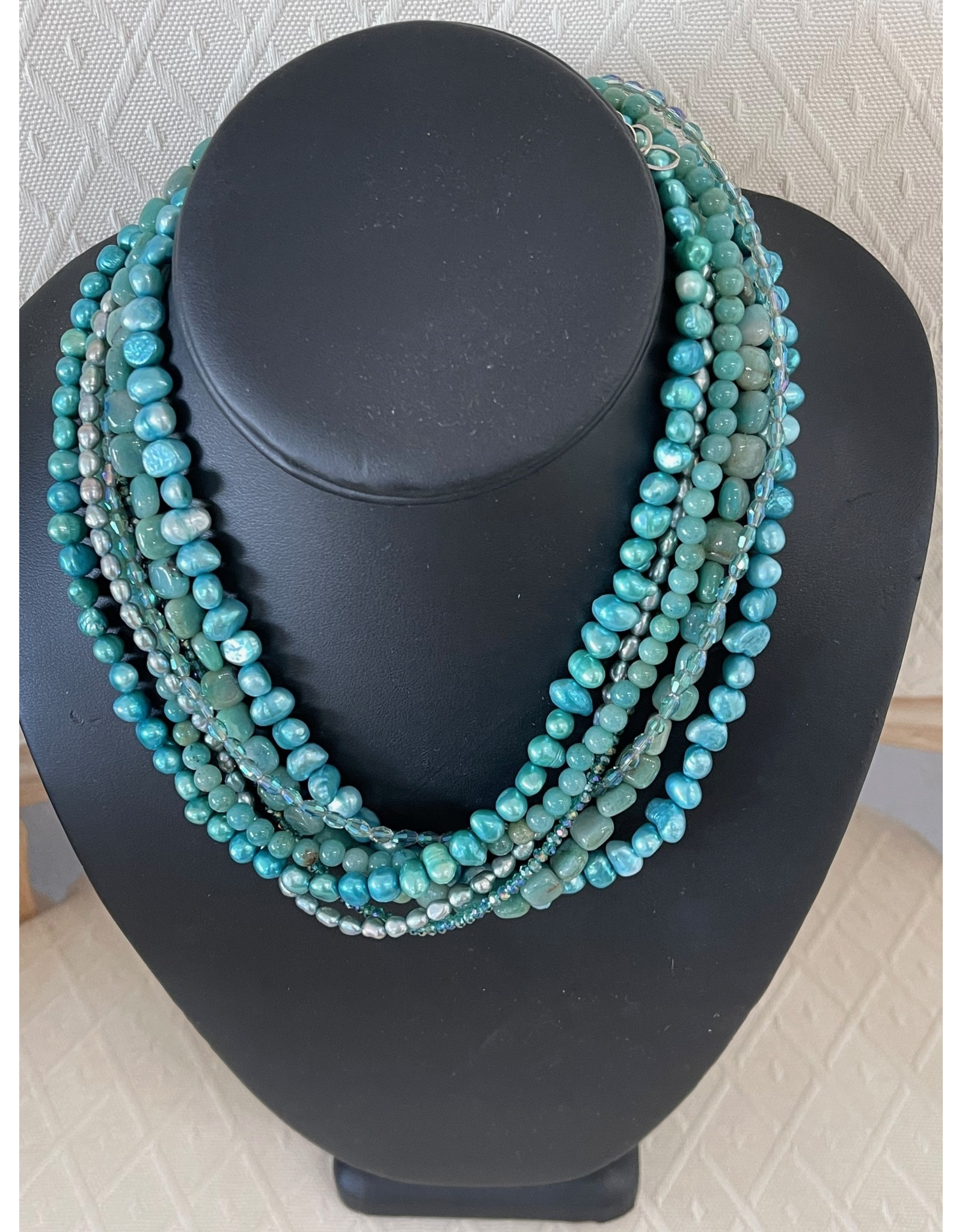 "Rare Finds NECKLACE, Amazonite, pearls, Swarovski crystals, sterling, 7 strand, 16"" RARE"