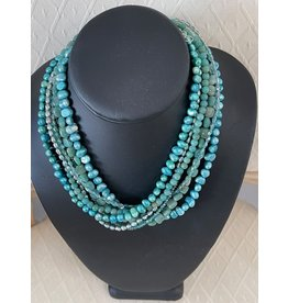"Rare Finds NECKLACE, Amazonite, pearls, Swarovski crystals, sterling, 7 strand, 16"" RARE"