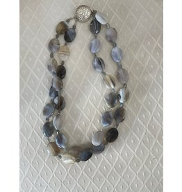 "Rare Finds NECKLACE, faceted Jasper, labradorite, 2 strand, 20"" RARE"