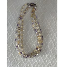 "Rare Finds NECKLACE, Ametrine w/amethyst & citrine, 3 strand, 18"" RARE"