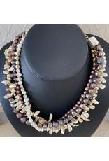 """Rare Finds NECKLACE, Biwa pearls, potato pearls, 4 strand, 16"""" RARE"""