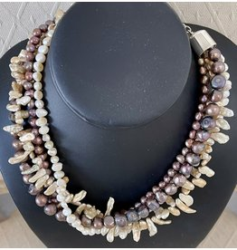 "Rare Finds NECKLACE, Biwa pearls, potato pearls, 4 strand, 16"" RARE"